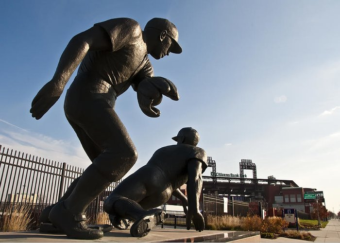 Baseball Statue At Citizens Bank Park Greeting Card featuring the photograph Baseball Statue At Citizens Bank Park by Bill Cannon