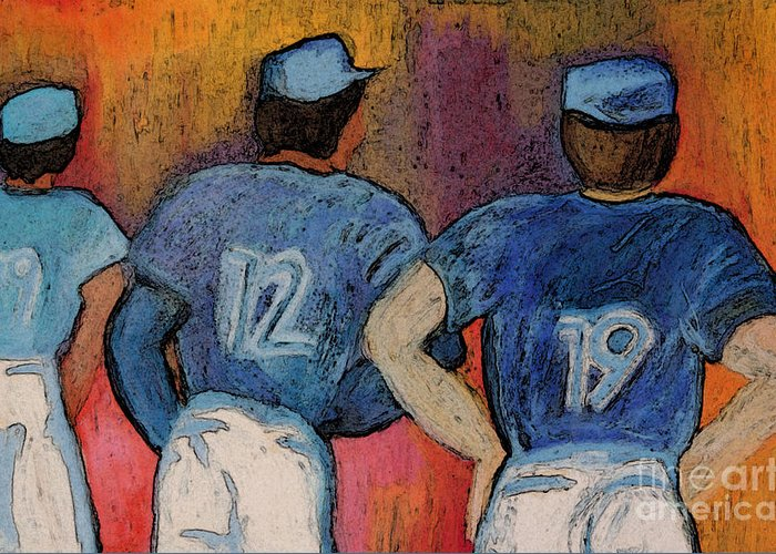 First Star Art Greeting Card featuring the painting Baseball Team By Jrr by First Star Art