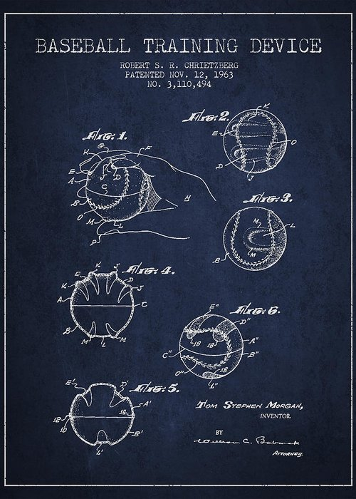 Baseball Patent Greeting Card featuring the digital art Baseball Training Device Patent Drawing From 1963 by Aged Pixel