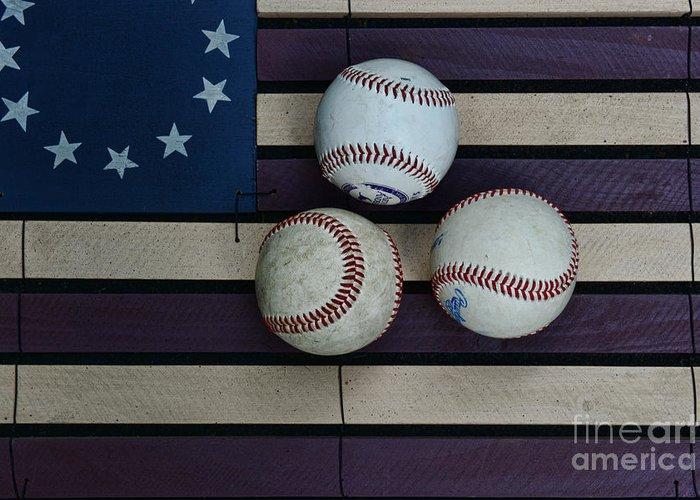 Paul Ward Greeting Card featuring the photograph Baseballs On American Flag Folkart by Paul Ward