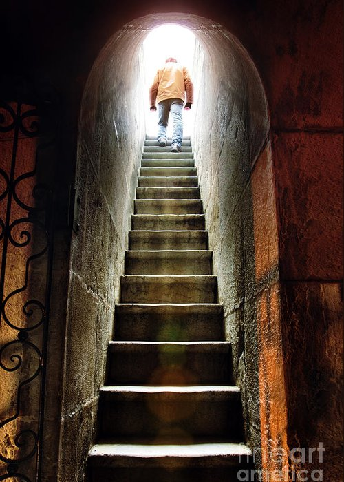 Above Greeting Card featuring the photograph Basement Exit by Carlos Caetano