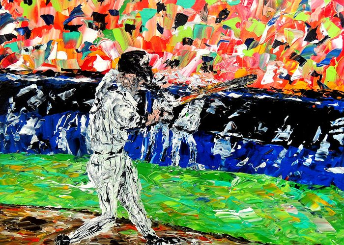 L Greeting Card featuring the painting Bases Loaded by Mark Moore