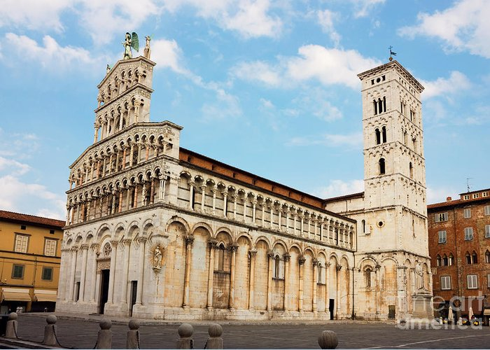 San Greeting Card featuring the photograph Basilica San Michele In Foro In Lucca Italy by Kiril Stanchev