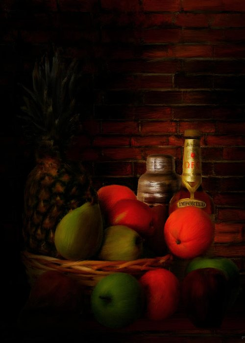 Wine Greeting Card featuring the digital art Basket Of Colors by Lourry Legarde