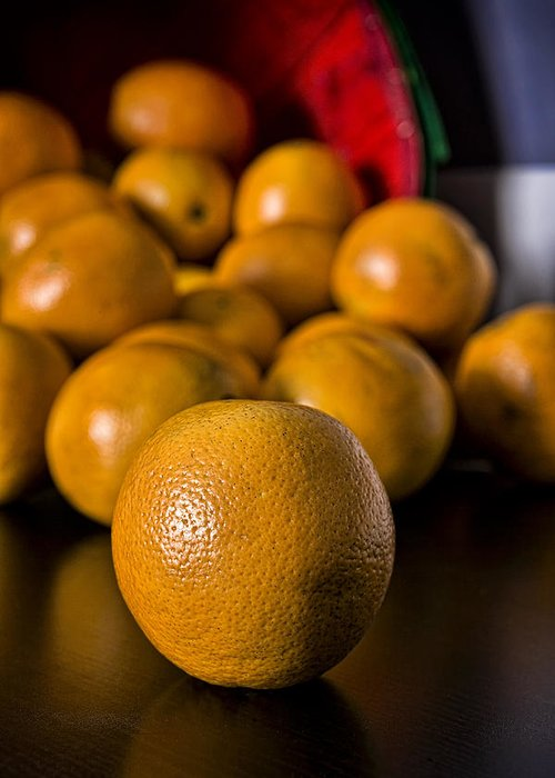 Fineart Greeting Card featuring the photograph Basket Of Oranges by Jeff Burton