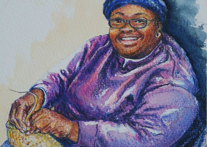 Basket Weaver Greeting Card featuring the painting Basket Weaver In Blue Hat by Sharon Sorrels