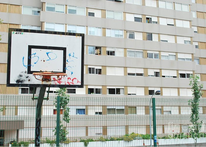 Basket Greeting Card featuring the photograph Basketball Court In A Social Neighbourhood by Luis Alvarenga