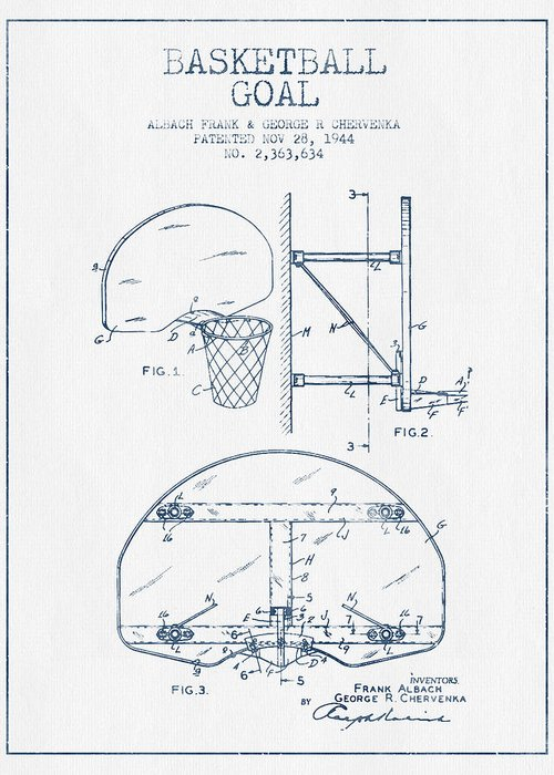 Basketball Goal Patent Greeting Cards