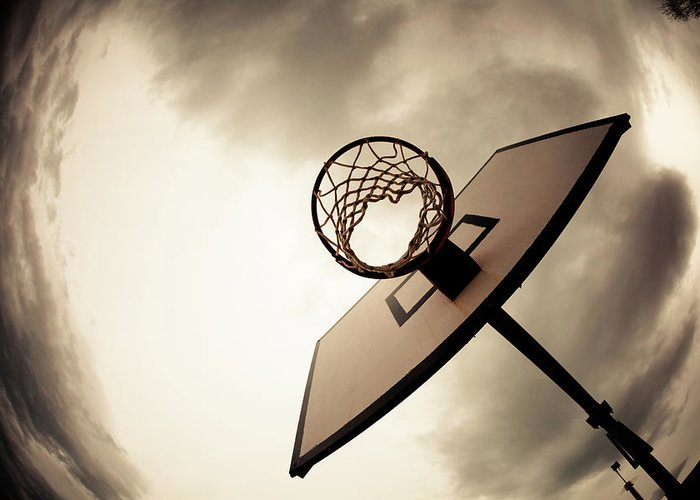 Goal Greeting Card featuring the photograph Basketball Hoop, Dramatic Sky by Zodebala