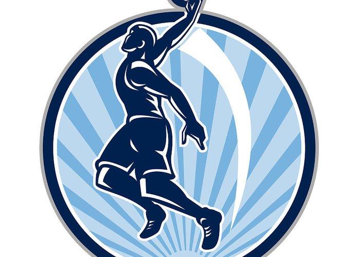 Basketball Greeting Card featuring the digital art Basketball Player Dunk Ball Retro by Aloysius Patrimonio