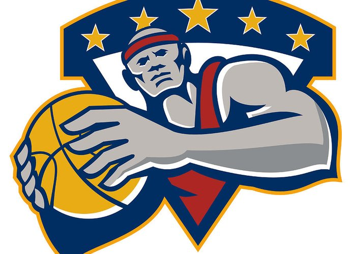 Basketball Greeting Card featuring the digital art Basketball Player Holding Ball Star Retro by Aloysius Patrimonio