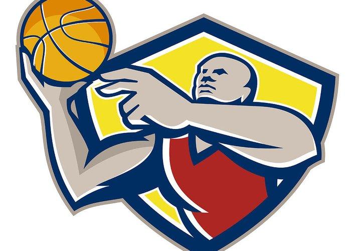 Basketball Greeting Card featuring the digital art Basketball Player Laying Up Ball Retro by Aloysius Patrimonio