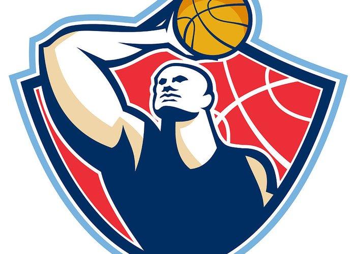 Basketball Greeting Card featuring the digital art Basketball Player Rebounding Ball Retro by Aloysius Patrimonio