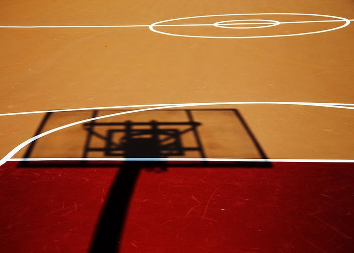 Basketball Greeting Card featuring the photograph Basketball Shadows by Karol Livote