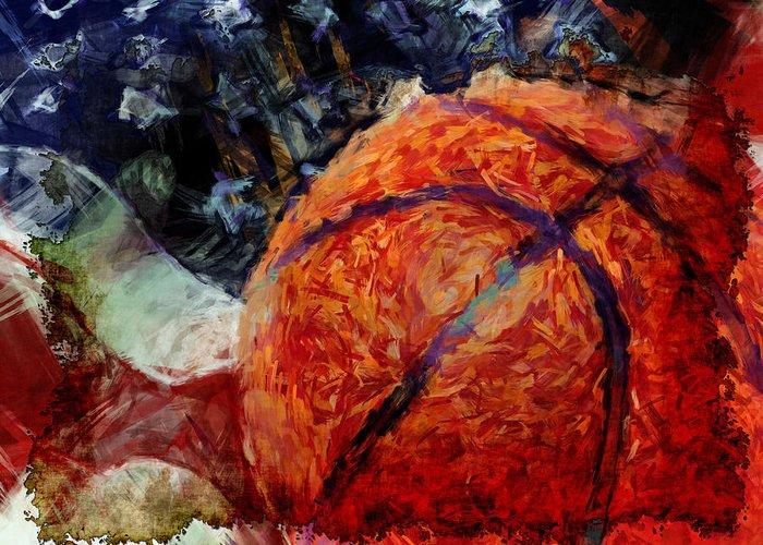Basketball Greeting Card featuring the digital art Basketball Usa by David G Paul