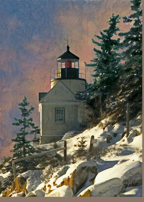Bass Harbor Greeting Card featuring the painting Bass Harbor Light In A Winter Storm by Brent Ander