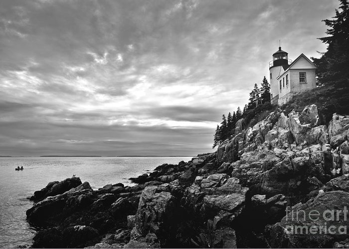 Bar Harbor Greeting Card featuring the photograph Bass Harbor Lighthouse At Dusk by Diane Diederich
