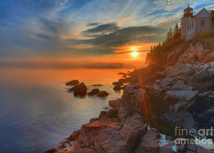 Bass Harbor Lighthouse Greeting Card featuring the photograph Bass Harbor Sunset by Adam Jewell