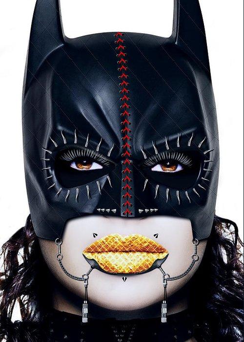 Batman Greeting Card featuring the digital art Bat Girl by Jan Raphael
