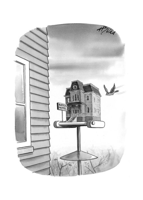 Movies - General Greeting Card featuring the drawing Bates Motel Birdhouse by Harry Bliss