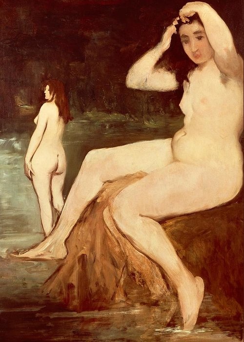 Art Greeting Card featuring the painting Bathers On Seine by Edouard Manet