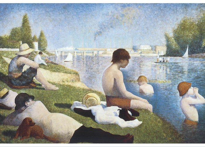 George-pierre Seurat Greeting Card featuring the painting Bathing At Asnieres by George-Pierre Seurat