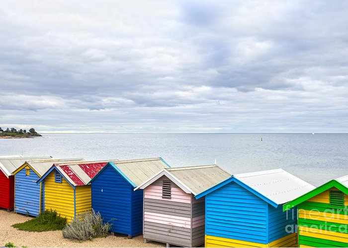 Australia Greeting Card featuring the photograph Bathing Huts Brighton Beach Melbourne Australia by Colin and Linda McKie