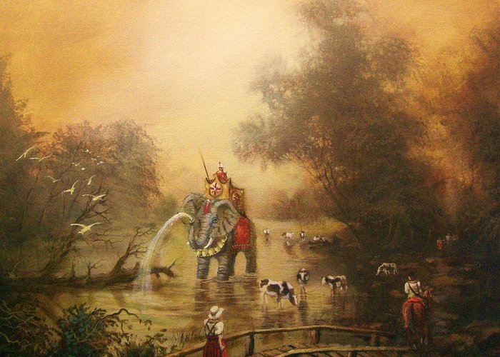 Fantasy Greeting Card featuring the painting Bathing The Royal Elephant by Tom Shropshire