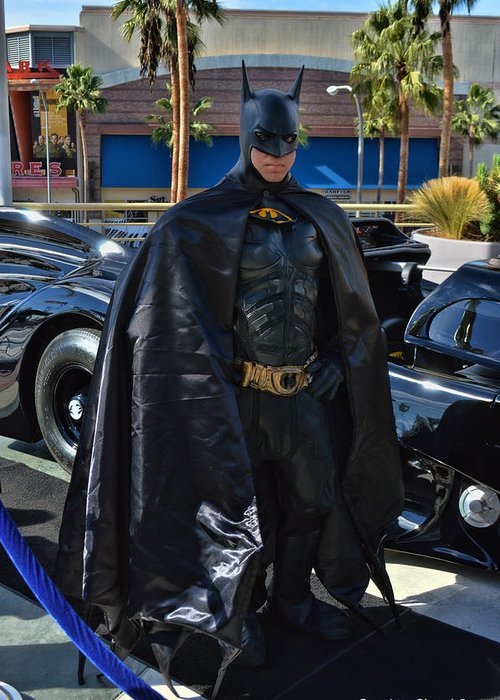 Batmobile Greeting Card featuring the photograph Batmobile And Batman by Tommy Anderson