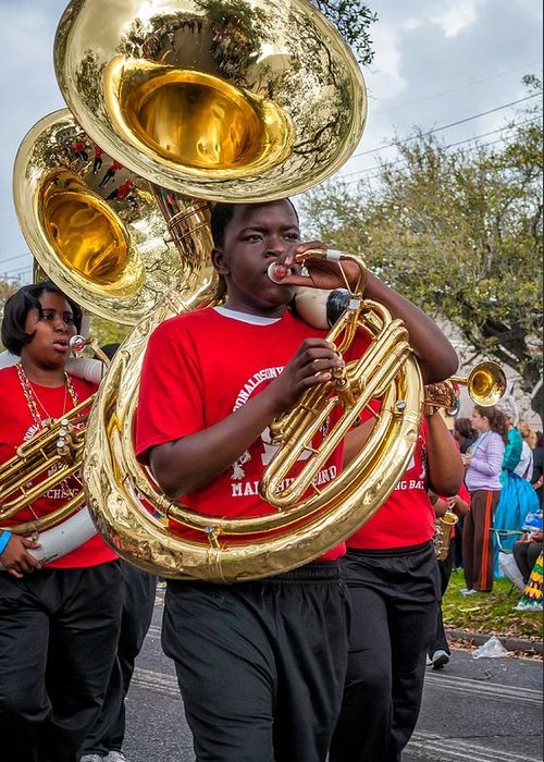 Nola Greeting Card featuring the photograph Battered Tuba Blues by Steve Harrington