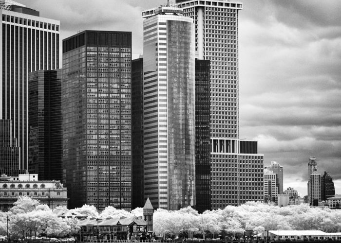 Nyc Greeting Card featuring the photograph Battery Park Bw Ir by Dave Beckerman