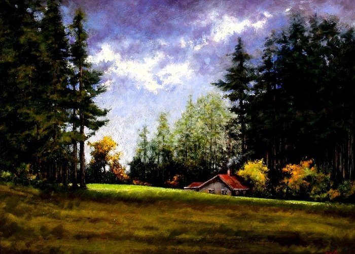 Landscape Greeting Card featuring the painting Battle Ground Park by Jim Gola