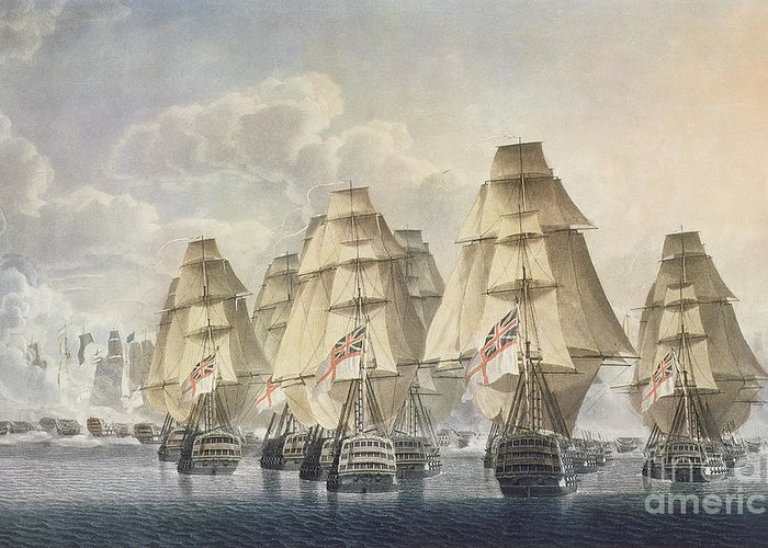 Print Greeting Card featuring the painting Battle Of Trafalgar by Robert Dodd