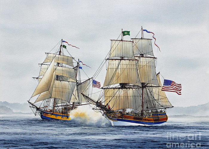 Tall Ship Greeting Card featuring the painting Battle Sail by James Williamson