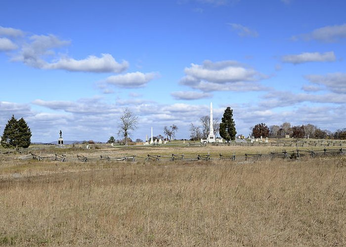 Gettysburg Greeting Card featuring the photograph Battlefield At Gettysburg National Military Park by Brendan Reals