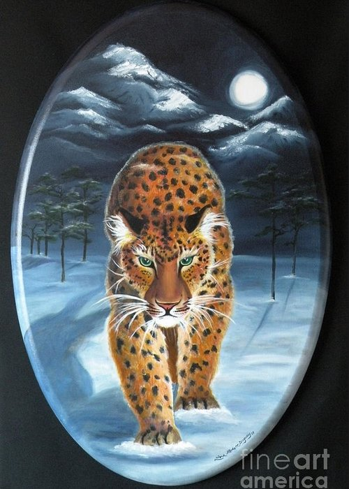 Snow Leopard Greeting Card featuring the painting Batukhan Snow Leopard by Lora Duguay