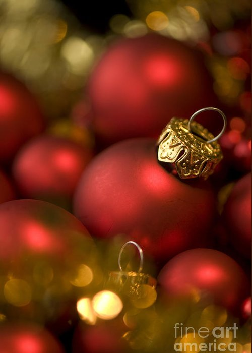 Background Greeting Card featuring the photograph Baubles by Anne Gilbert