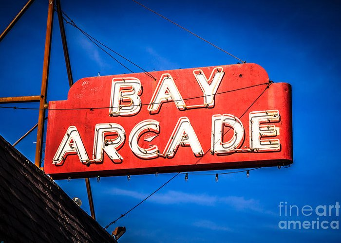 America Greeting Card featuring the photograph Bay Arcade Sign In Newport Beach Balboa Peninsula by Paul Velgos