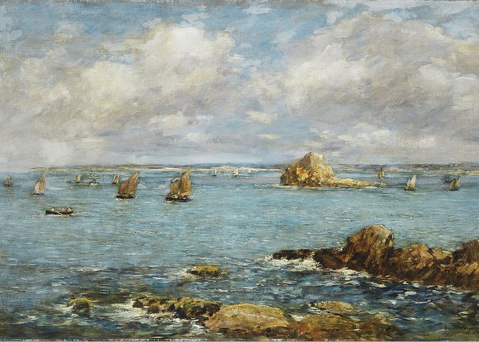 French Greeting Card featuring the painting Bay Of Douarnenez by Eugene Louis Boudin