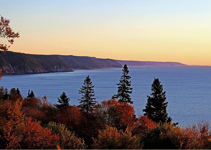 This Rugged Coastline Boasting The World's Highest Tides Is Beautiful Anytime Of The Year ... But Particularly So In Autumn. The Bordering Fundy Trail Parkway Is A Top Tourist Attraction For The Cruise Ships That Arrive To The Nearby Port Of Saint John. Greeting Card featuring the photograph Bay Of Fundy Coastline - New Brunswick Canada by Derek Grant
