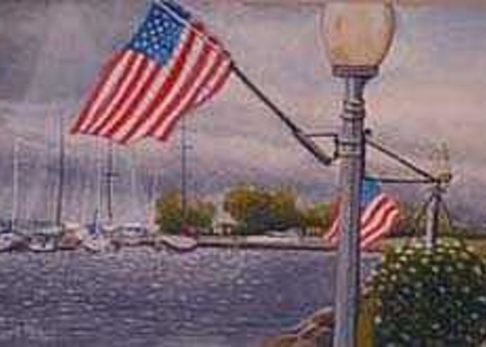 Rick Huotari Greeting Card featuring the painting Bayfield on the 4th by Rick Huotari