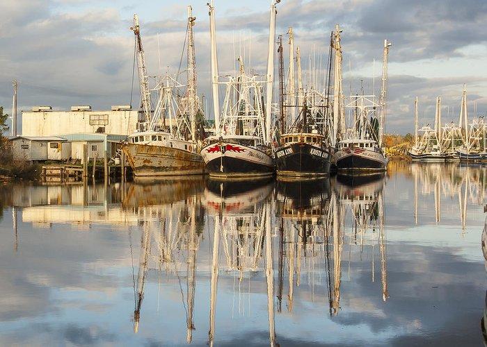 Alabama Greeting Card featuring the photograph Bayou Labatre' Shrimp Boat Reflections 22 by Jay Blackburn