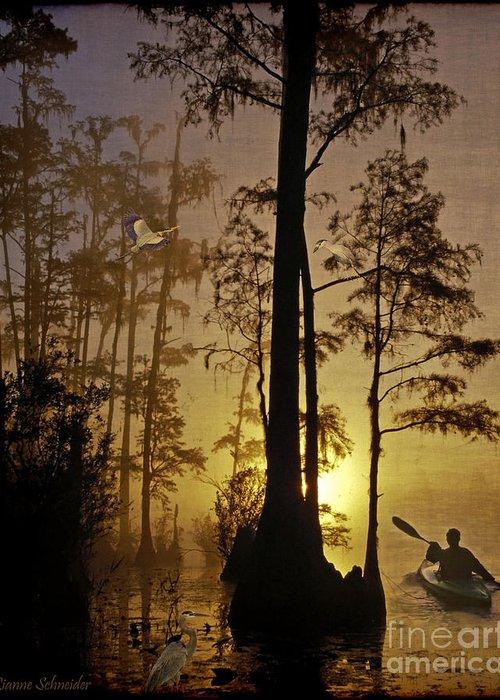Bayou Greeting Card featuring the digital art Bayou Sunrise by Lianne Schneider