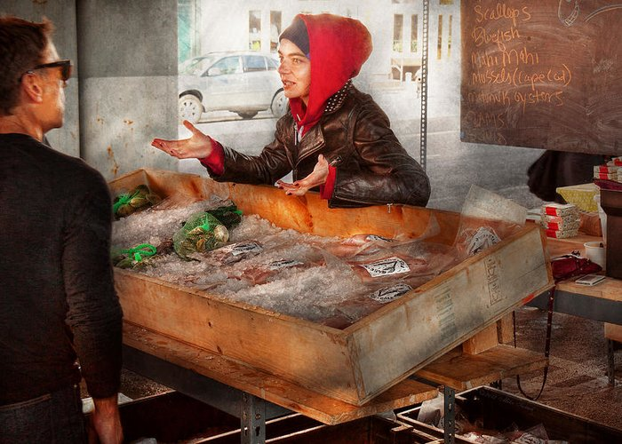 Amsterdam Market Greeting Card featuring the photograph Bazaar - I Sell Fish by Mike Savad