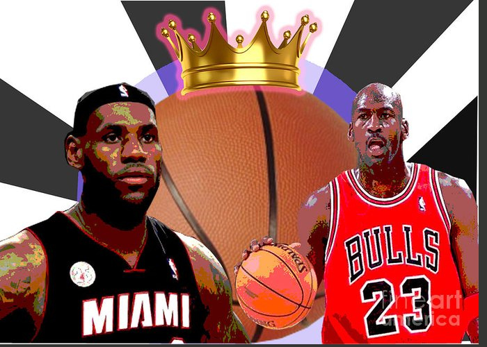 Michael Jordan Greeting Card featuring the digital art Bball Kings by Michael Chatman