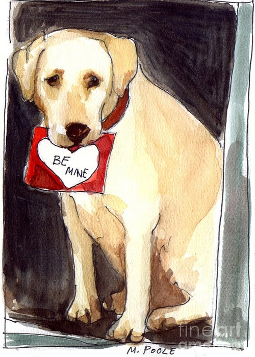 A Heart Felt Message! Greeting Card featuring the painting Be Mine by Molly Poole