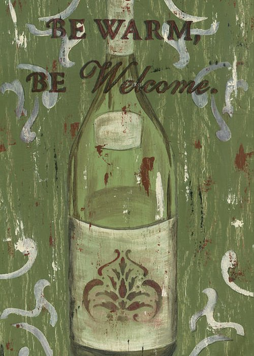 Wine Greeting Card featuring the painting Be Our Guest by Debbie DeWitt
