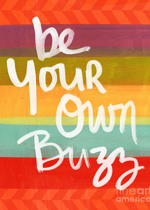 Stripes Greeting Card featuring the painting Be Your Own Buzz by Linda Woods