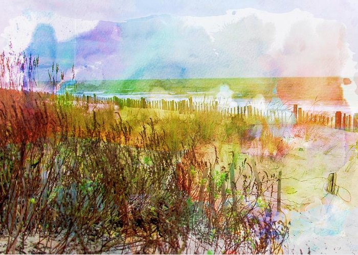 Beach Greeting Card featuring the digital art Beach Watercolor 1 by PM Staab