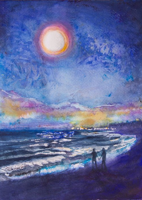 Beach Greeting Card featuring the painting Beach At Night by Patricia Allingham Carlson